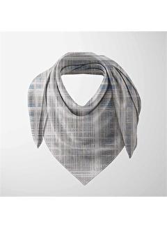 Else Halı Gri Mavi Çizgiler 3D Desenli Modern Rayon Kumaş Fular